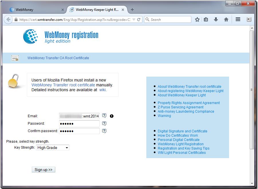 Registering WM Keeper WebPro in Mozilla Firefox - WebMoney Wiki