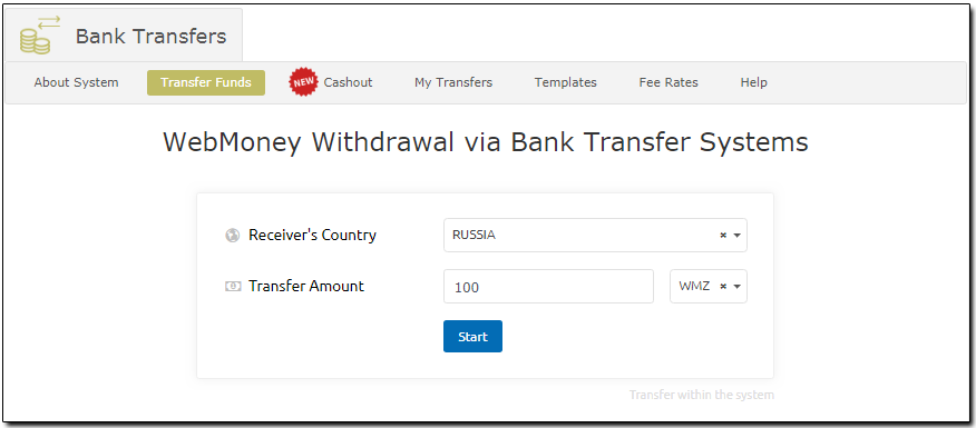 Withdrawal Of Wmz Via Bank Transfer
